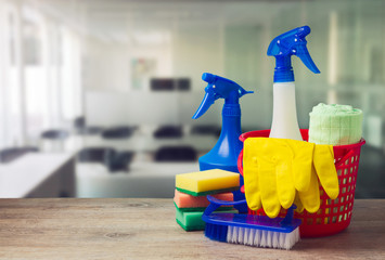 Office cleaning service concept with supplies Wall mural