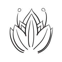 Hand drawn flowers vector icon symbol illustration.