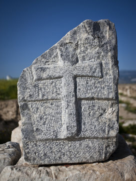 Christian Cross in Stone at Laodicea
