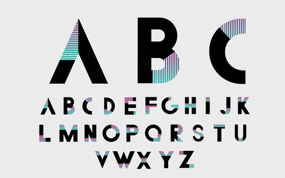 Black alphabetic fonts and numbers with color lines. Vector illustration.
