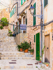 Wall Mural - View of a old rustic mountain village with mediterranean houses