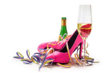women's day, ladies pink high heels shoes, champagne and streame