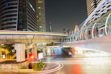 Bangkok - FEB 28 : Chong Nonsi Station is a BTS sky-train station on FEB 28, 2015 in Bangkok, Thailand.(In Night)