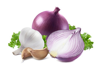 Red onion garlic parsley isolated on white background