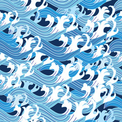 Seamless graphic pattern vector sea waves