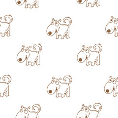 Seamless pattern with funny cartoon dogs on  white background. Cute puppies. Vector image. Hand drawn.