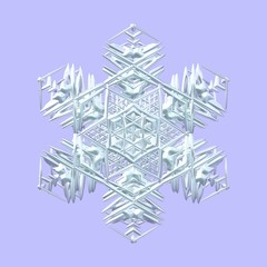 Winter white complicated generated symetric snowflake on light blue background