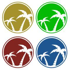 Icono plano palmeras en varios colores #1