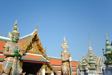 Thai Architecture, Demon Guardian at Wat Phra Kaew, Grand Palace, Bangkok, Thailand