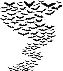 Bats flying around simple background