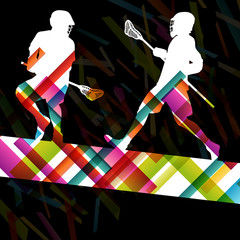Lacrosse players silhouettes active and healthy sport vector abs