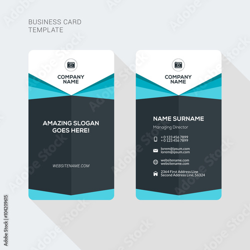 modern creative and clean two sided business card template flat style vector illustration vertical