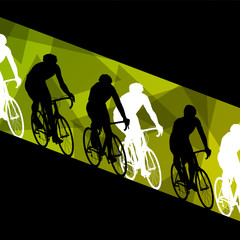 Active healthy men cyclists bicycle riders in abstract sport lan