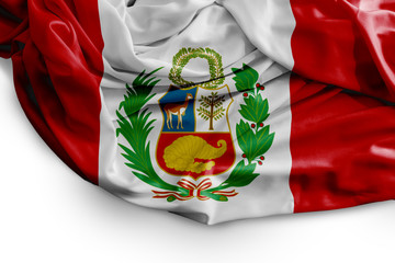 Peruvian flag on white background