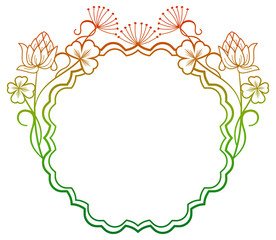 Beautiful floral frame with gradient fill. Raster clip art.
