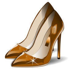 Vector Cartoon gold Women Shoes on white background. EPS