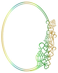 Beautiful oval floral frame with gradient fill. Raster clip art.