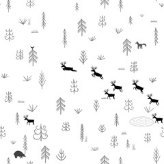Vector seamless pattern with wild forest life