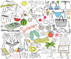 Summer season doodles elements. Hand drawn sketch set with sun, umbrella, sunglasses, palms and hammock, beach, camping items, mountains, tent, raft, grill, kite. Drawing doodle, isolated on white