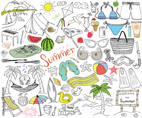 Summer season doodles elements. Hand drawn sketch set with sun umbrella sunglasses  sc 1 st  Fotolia.com & Summer season doodles elements. Hand drawn sketch set with sun ...
