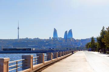 Baku, Azerbaijan - September 22, 2015: View of Flame Towers skys