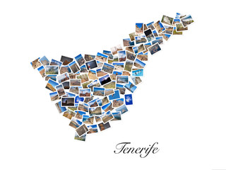 A collage of my best travel photos of Tenerife, forming the shape of Tenerife island, version 1.