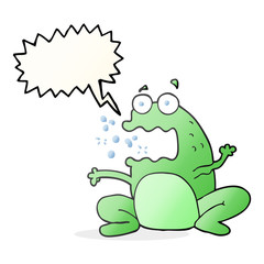 speech bubble cartoon burping frog