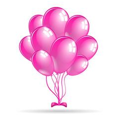 Set of shiny pink balloons. Vector illustration.