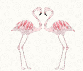 Beautiful vector illustration of pink flamingos couple on light background with spirals
