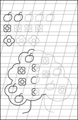 Educational page with exercises for young children in line. Developing skills for writing and drawing. Vector image.