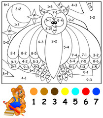 Exercises for children - needs to paint image in relevant color. Developing skills for counting and coloring. Vector image.