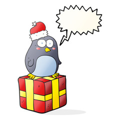 speech bubble cartoon christmas penguin