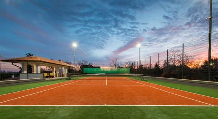 Tennis court and magic sky