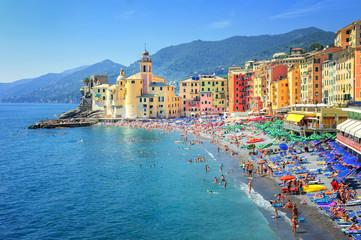 Sand beach in Camogli by Genoa, Italy