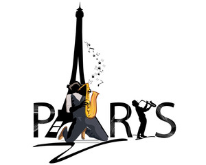 Paris text with Eiffel tower and romantic musicians.