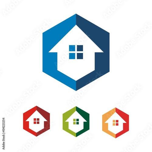 Simple Hexagon Home House Vector Logo Design\