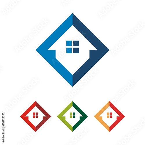 Simple square home house vector logo design stock image for Minimalist house logo