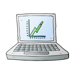 cartoon laptop computer with business graph