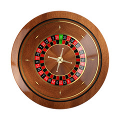 Roulette wheel in casino isolated on white background.