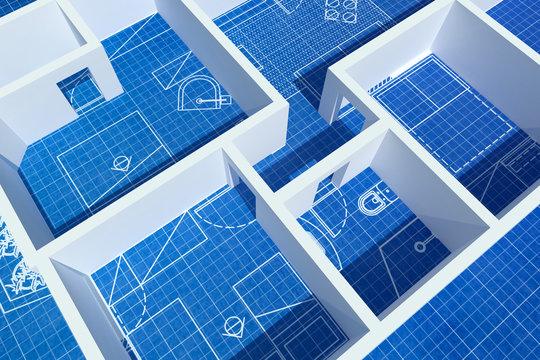 Architecture Floor plan background blueprint white Walls
