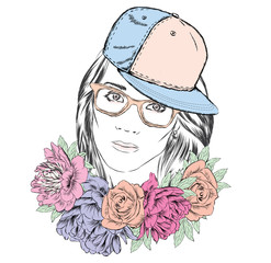Teen girl in a cap and glasses. The girl and a bouquet of flowers. Portrait of a Girl in the vector.
