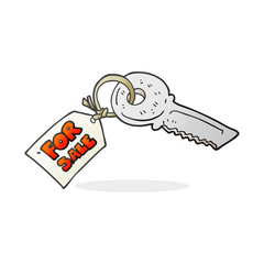 cartoon house key with for sale tag