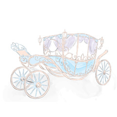 The carriage drawn by hand. Coach princess . Wedding card .