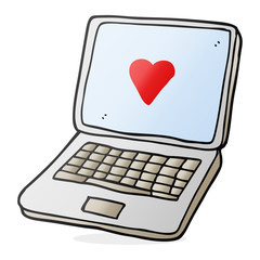 cartoon laptop computer with heart symbol on screen