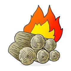 cartoon burning logs