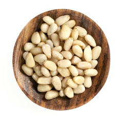 Pine Nuts in Wooden Dish Isolated