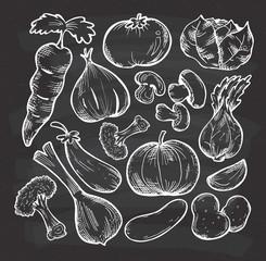 set of sketchy vegetables on chalkboard background