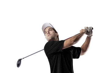 Golf Player using a black uniform.