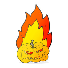 cartoon flaming halloween pumpkin