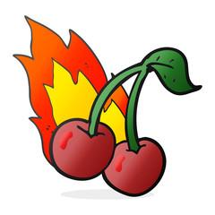 cartoon flaming cherries